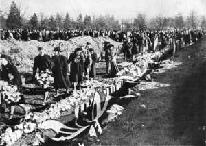 One of the mass funerals in days following November 1940 raids