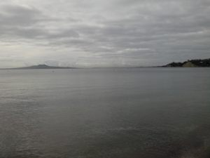 Looking out towards Rangitoto Island from Browns Bay Beach